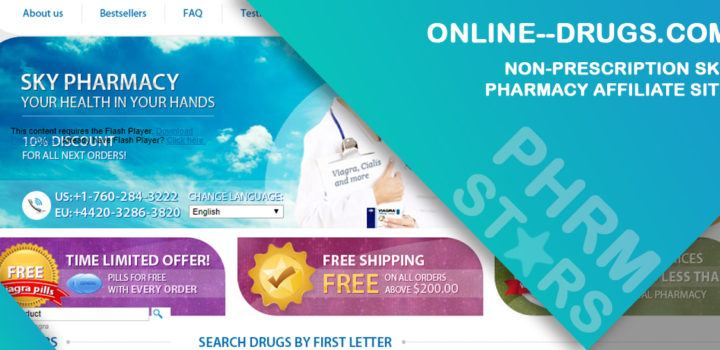 Online--drugs.com Review – Non-Prescription Sky Pharmacy Affiliate Site