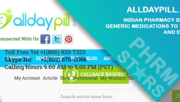Alldaypill.com Review - Indian Pharmacy Selling Generic Medications to the US and Europe